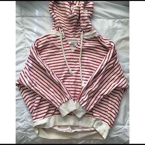 ❗️❕FOREVER 21 Red n white striped v neck hoodie❕❗️